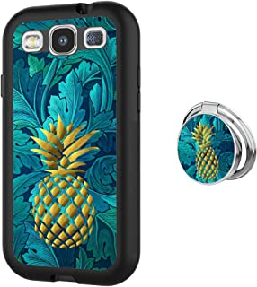 Ruyal Up Samsung Galaxy S3 Case with Phone Ring Buckle - TPU Rubber and PC Anti-Slip Grip Cover Case for Samsung Galaxy S3 and Metal Rotatable Ring Holder Stand (Golden Pineapple)