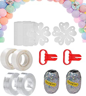 HOOME Balloon Garland Arch Strip Tape Kit, 2 Pcs Tying Tool, 200 Dot Glue, 2 rolls Balloon ribbon,20 Ballon Flower Clip fo...