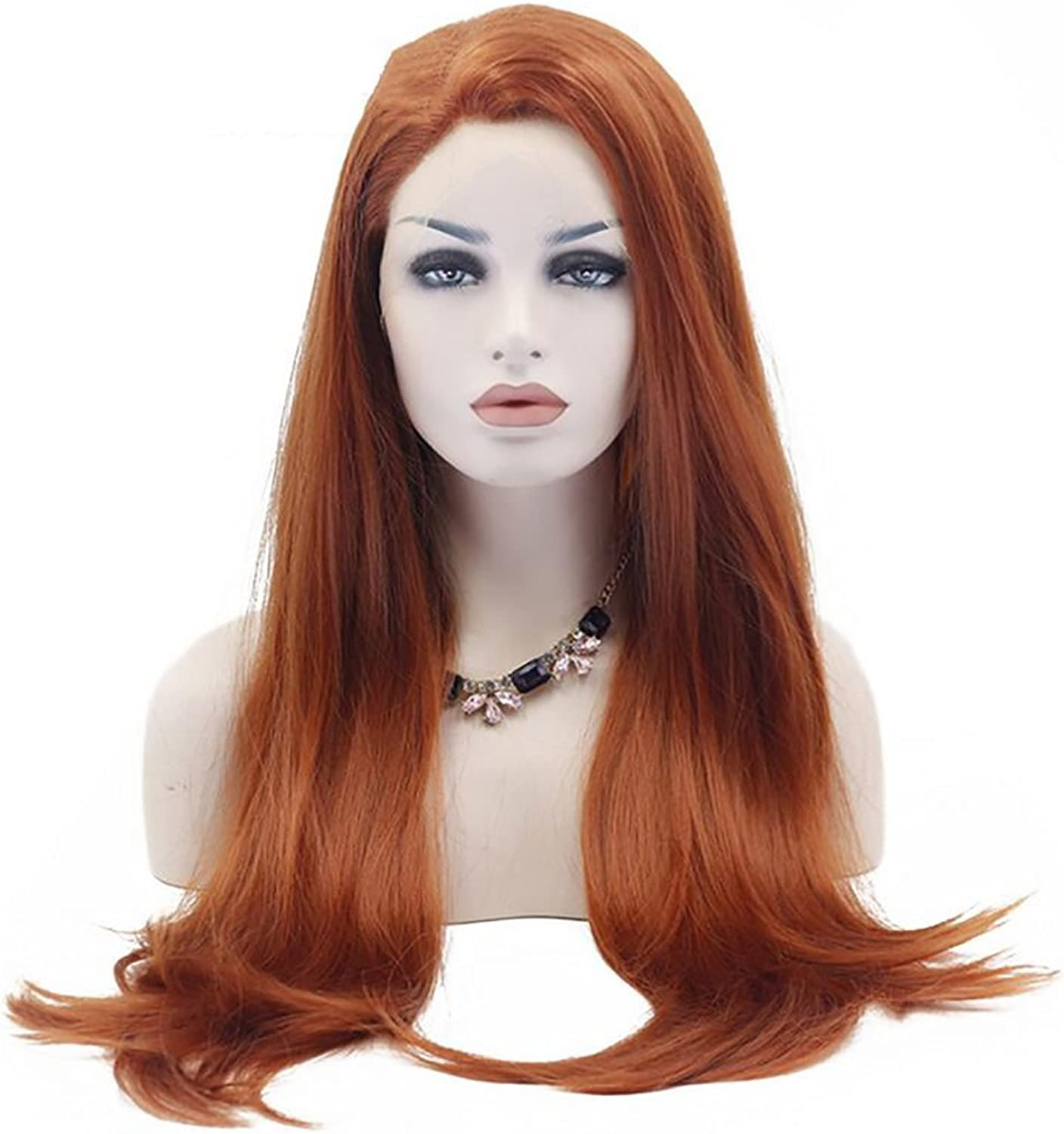 ZHEDAN Lace Front Wig orange Wig Natural Straight Side Heat Resistant Synthetic Full Wig 26 Inches