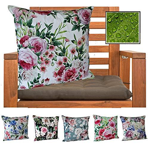 heimtexland ® Outdoorkissen Dekokissen Schmutz- und Wasserabweisend Landhaus Garten Outdoor Kissen Rosen Rosa Grün Typ675