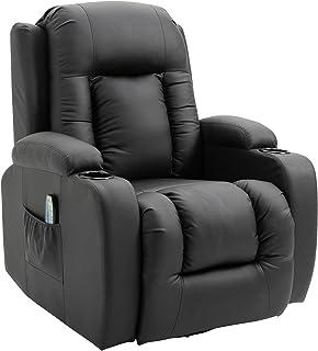 HOMCOM Fauteuil de Massage et Relaxation électrique Chauffant inclinable Repose-Pied télécommande Noir