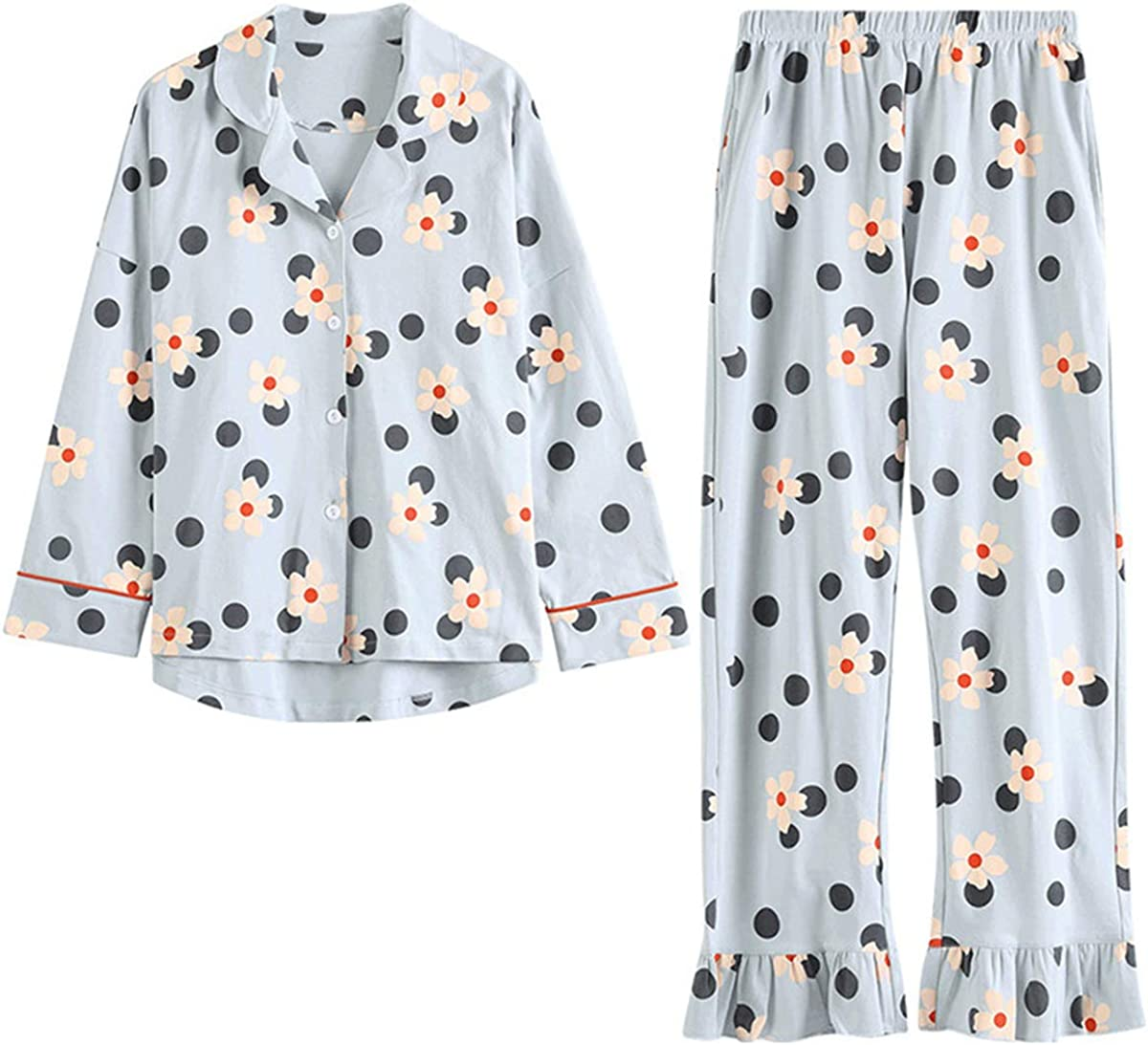 TOP-MAX Young Ladies Pajamas Set for Big Girls- Button Down Pjs for Teens Young Girls Cartoon Tops and Long Pants Loungwear