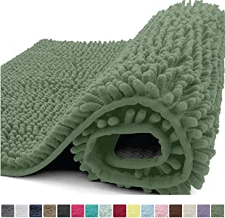 Kangaroo Plush Luxury Chenille Bath Rug, 36x24, Extra Soft and Absorbent Shaggy Bathroom Mat Rugs, Washable, Strong Underside, Plush Carpet Mats for Kids Tub, Shower and Bath Room, Sage