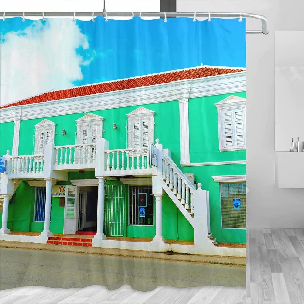 Bonaire YL-00732 - Cortina de ducha de viaje con ganchos de poliéster (72 x 72 pulgadas)