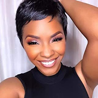 RUISENNA Short Hair Wigs for Black Woman Natural Straight Pixie Cut Wigs 100% Heat Resistant Fiber Synthetic Wig 1B Color
