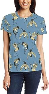 T Shirt voor Vrouwen Meisjes Kranen Dierlijke Vogel Aangepaste Korte mouw