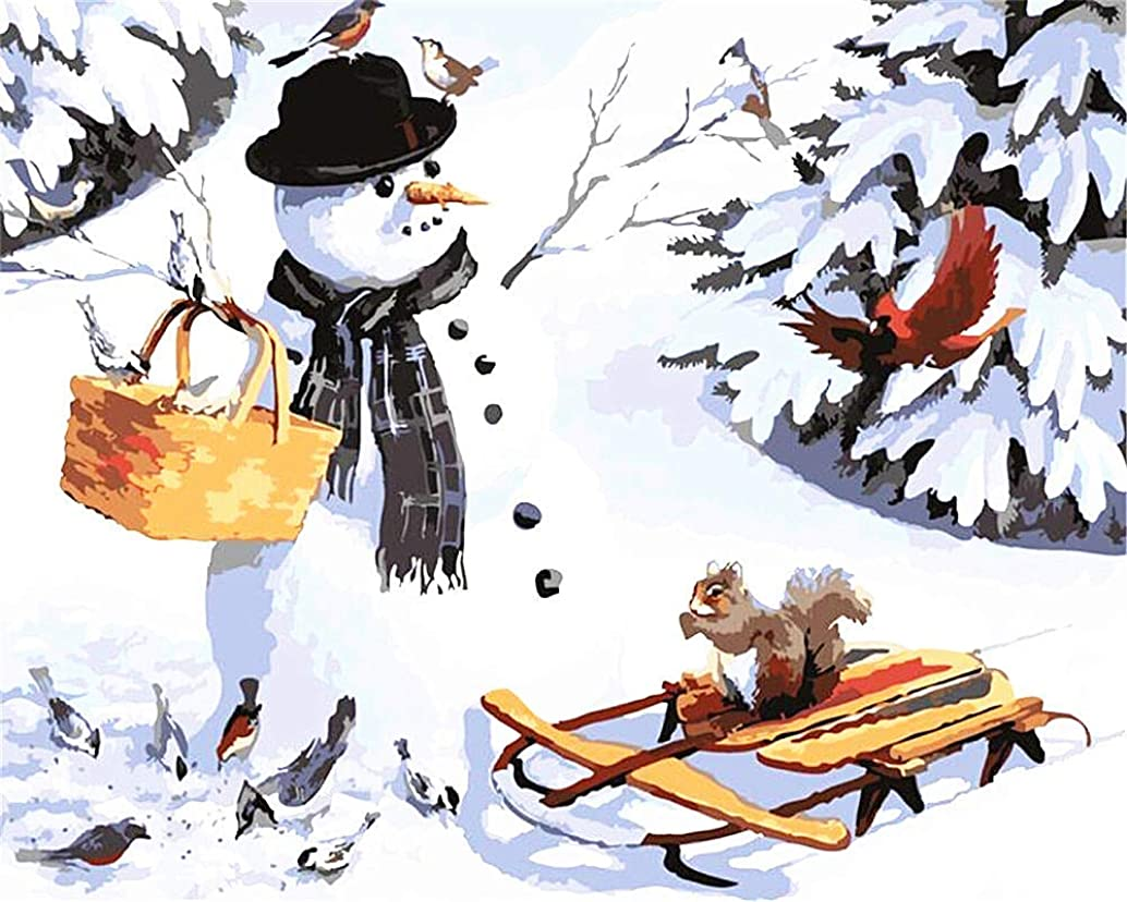 DIY Oil Painting Paint by Number Kit for Kids Adults Beginner 16x20 inch - Squirrel Birds and Snowman, Drawing with Brushes Christmas Decor Decorations Gifts (Without Frame)