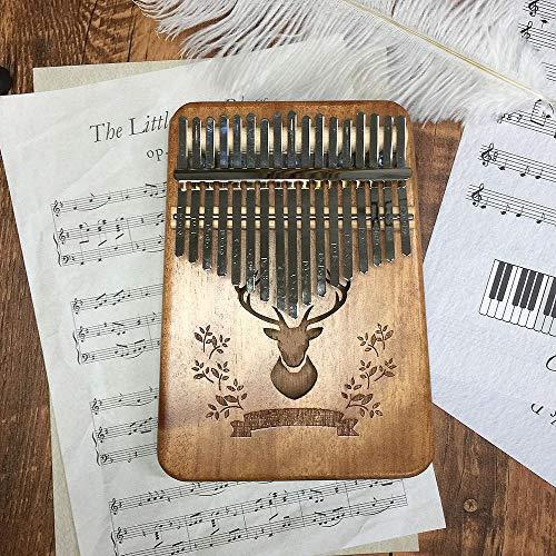 17 Tasten Daumenklavier Holz Mahagoni Körper Musikinstrument mit Lernklavier Khaki