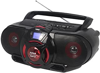 Naxa Electronics NPB-273 Portable Bluetooth, MP3/CD AM/FM Stereo Radio Cassette Player/Recorder with Subwoofer and USB Input Boombox