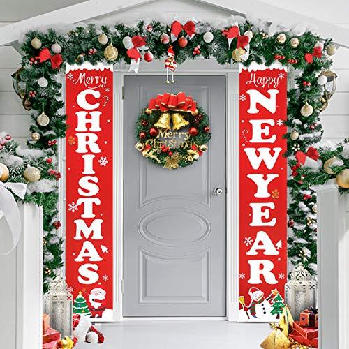 Yardwe Frohe Weihnachten Neujahr Banner Weihnachten Dekorationen Weihnachten Veranda Zeichen Hängen für Indoor Outdoor Tür Display Dekorationen Halloween Outdoor Dekoration Hängen für