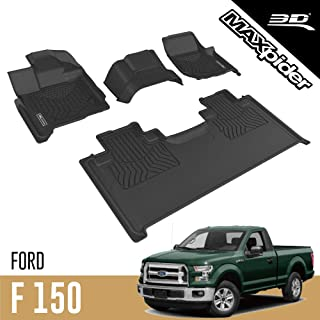 3D MAXpider Complete Set Black Custom Fit All-Weather Floor Mats for 2015-2020 Ford F-150 SUPERCAB Models - MAXTRAC Rubber...