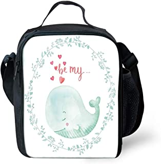 Unisex Lunch Box Insulated Lunch Bag Large Cooler bags for Men,Women and Kids - Whale with Be My Love Valentines Quote Hearts Inside Floral Wreath Marine