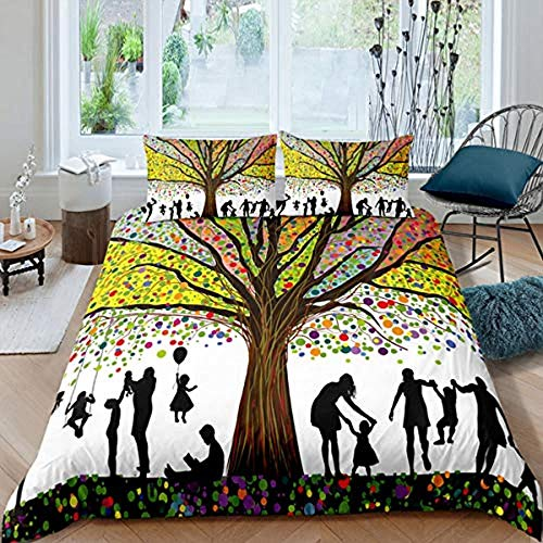 Matasuer Duvet Cover Set - - A Group Of Children Women Under The Rainbow Tree - Single (135 X 200 Cm) + 2 Pillowcase 50 X 75 Cm Soft Easy Care Anti-Allergic Bedding Set Gift For Teens Girls