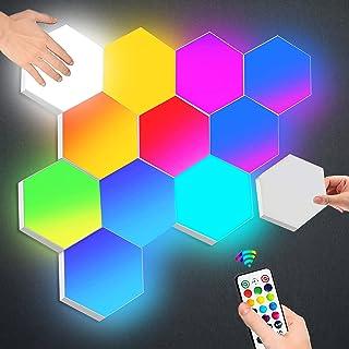 Sechseck Wandleuchte mit Fernbedienung, Smart Touch Modulare LED Licht Wandpanel RGB Nachtlicht DIY Geometrie Spleißen Qua...