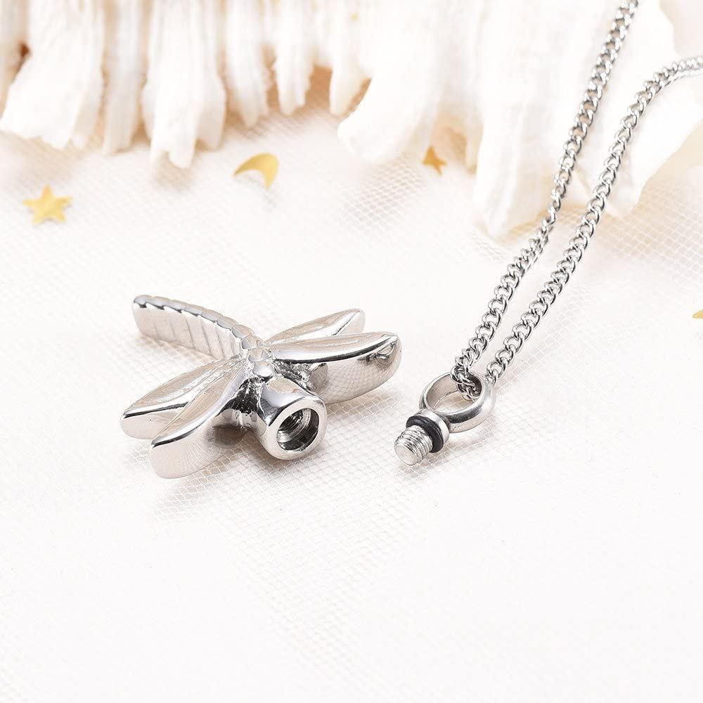Dragonfly Cremation Urn Necklace for Ashes Keepsake Memorial Pendant Jewelry for Women//Men