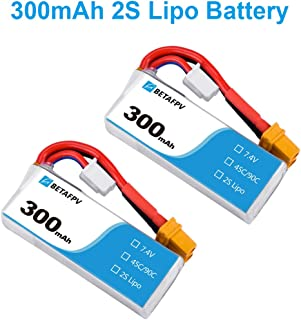 BETAFPV 2pcs 300mAh 2S Lipo Battery HV Battery 45C 7.4V XT30 18AWG Silicone Wire for 2S Whoop FPV Racing Drone Beta75X Beta75 Pro 2