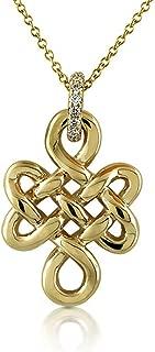 0.08CT Diamond 14K Yellow Gold Buddhist Eternal Endless Love Knot Pendant Necklace