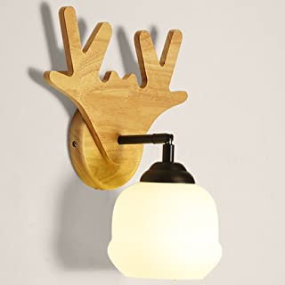 MX Light Fixture Nordic Creative Wall lamp Modern Minimalist Bedroom Bedside lamp Solid Wood lamp (Color : A, Size : 5W)