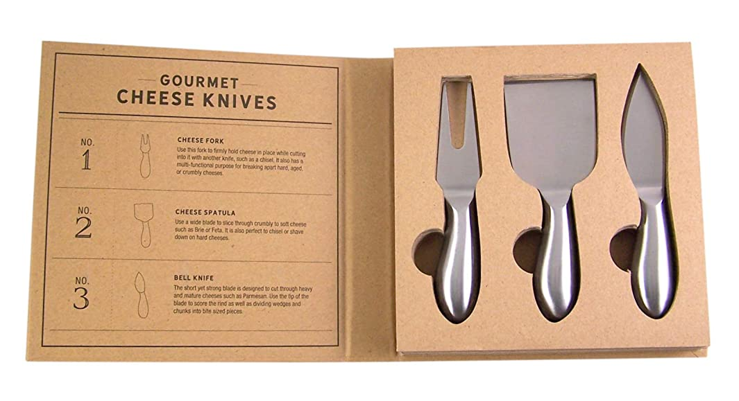 SB Design Studio F2872 Table Sugar 3-Piece Gourmet Cheese Knife Boxed Gift Set, 2 Knives, Stainless Steel