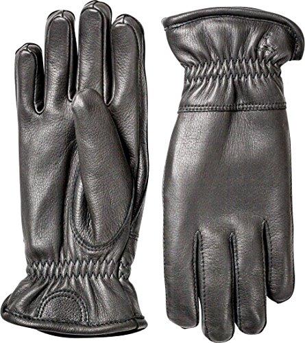 Hestra Mens Leather Gloves: Deerskin Winter Gloves with Fleece Lining, Black, 9