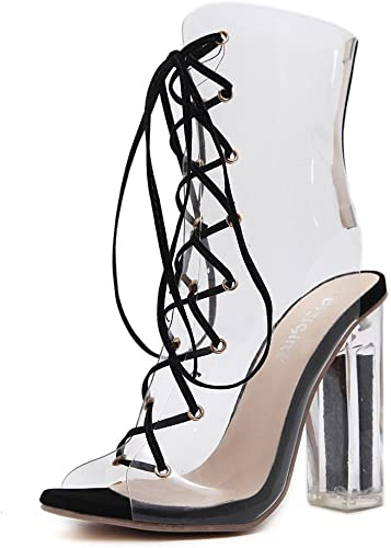 Femmes Sexy Des sandales Bottes Cristal Chaussures épais Haute Talon Transparent Traverser Les bretelles Noir Travail Fête Robe Boîte de nuit