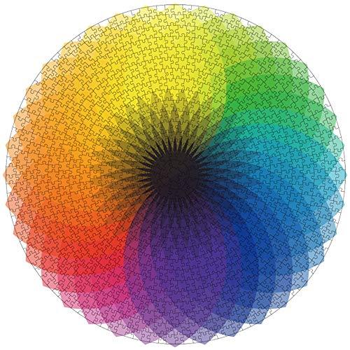 Sunwuun Puzzle 1000 Teile Runde Puzzle Kreative Regenbogen Farbverlauf Puzzle schwer Puzzle Klassische Puzzle Stressabbau Spielzeug für Erwachsene (Rainbow)