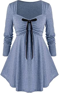 Women Plus Size Solid Color Sexy Square Neck Bow High Waist Pleated Long Sleeve Top Casual Tunic Swing Blouse