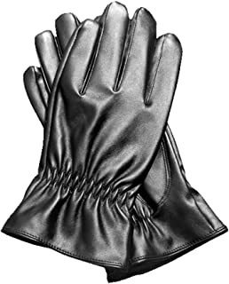 Ladies Leather Gloves Touch Screen Mittens Womens Soft Warm Velvety Lining Winter Gloves with Small Fold Design Decoration (Black)