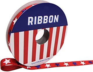 Americana Patriotic Ribbon 0.38'' x 9' Red with Blue & White Stars