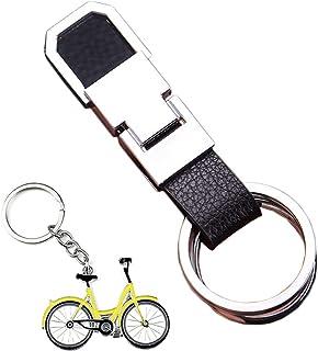 キーホルダー 車 ダブル リング キーホルダー カラビナ フック メンズ レディース キーケース シンプル デザイン メタリック シルバー(強くて頑丈)赠品:自転車 キーホルダー ストラップ