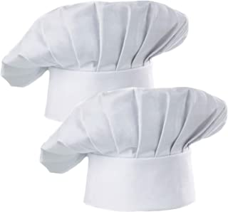 Hyzrz Chef Hat Set of 2 Adult Adjustable Elastic Baker Kitchen Cooking Chef Cap, White