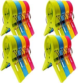 NOJOYA Beach Towel Clips, 16pcs Jumbo Size Beach Chair Towel Clips Clamps Towel Holder for Beach or Pool Chairs on Cruise, Bright Color Large Plastic Clothes Pegs Hanging Clips for Sunbed