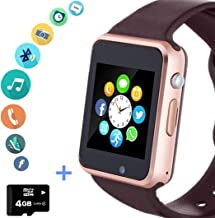 Smart Watch Phone Smartwatch with SD Card Camera Pedometer Text Call Notification SIM Card Slot Music Player Compatible for Android Samsung Huawei LG and IPhone (Partial Functions) for Men Women Teens