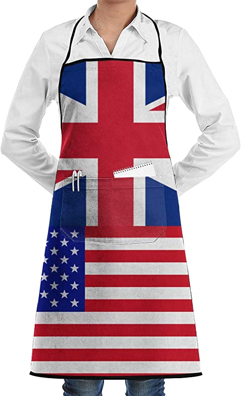 WQCFYJ5 Professional Bib Apron British American Proud Polyester Cobbler Apron With 2 Pockets For Cooking Grill And Baking For Men Women Durable And Machine Washable