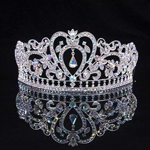 Sunshinesmile Colorful Clear Austrian Rhinestone Crystal Tiara Crown, 6' Diameter