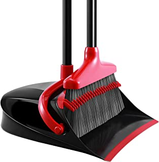 Broom and Dustpan Set, Homemaxs [Newest 2019] Long Handle Broom with Dustpan, Upright Dustpan with Upgrade Combo for Thorough Sweeping, Good Grip Dustpan and Lobby Broom for Pet Hair
