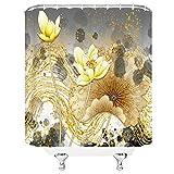 ZZYJKSD Blumen Duschvorhänge Sommer Pink Lotus Grünes Blatt Pflanze Landschaft Badezimmer Dekor Home Badewanne Wasserdichter Polyester Vorhang - 180X200CM