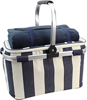 HappyPicnic 25L Insulated Cooler Bag with Foldable Aluminium Handle, Picnic Basket with Waterproof Picnic Blanket for Outdoor Travel Camping (Wide Navy Blue Stripe)
