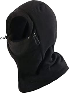 REDCAMP Fleece Balaclava Face Mask for Men Women, Double-Deck Winter Windproof Face Hat, Black