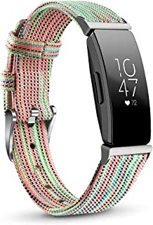 NAHAI Compatible with Fitbit Inspire HR Bands/Fitbit Inspire Band, Canvas Woven Fabric Bands Quick Release Strap Breathabl...