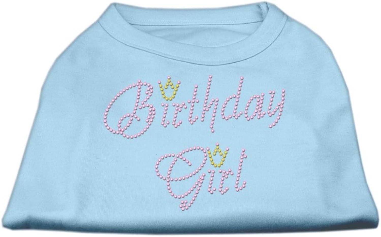 Mirage Pet Products 12Inch Birthday Girl Rhinestone Print Shirt for Pets, Medium, Baby bluee