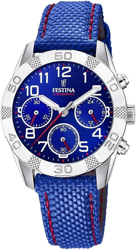 Festina orologio cronografo da uomo con cassa in acciaio inossidabile e con cinturino in tessuto F20346-2
