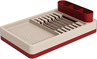 Coza- Professional Grade Compact Flat Unbreakable Kitchen Dish Drying Rack and Drainer- 3-in-1 Technology (Bold Red/Light Gray)