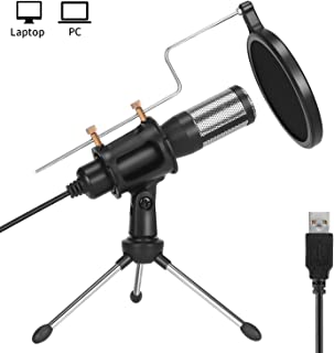 PEMOTech Studio Recording Microphone,USB Condenser Podcast Microphone,Plug and Play Desktop Gaming Streaming Microphone with Pop Filter for Pc,Skype,Sing,YouTube