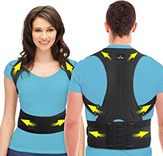 SOMAZ Adjustable Posture Corrector for Men&Women&Kids, Slouching Corrector, Clavicle Support, Back Straightener, Upper and Lumbar Back Brace Support for Rounded Shoulders & Back Pain (M)