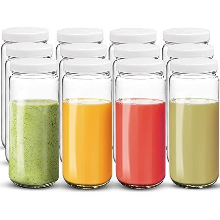 Bedoo 12 Pack Glass Juicing Bottles Jars 16 oz, Glass Juice Bottles for juicing, Glass Water Bottles, Reusable Travel Glass Drinking Bottles with Plastic Airtight Lids, Leak Proof