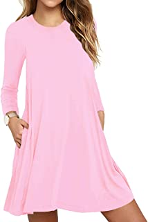 Women's Tunic Pockets Casual Swing T-Shirt Plain Loose Dress
