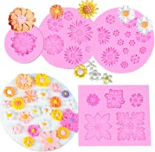 FOUR-C 4PC Flower Fondant Cake Molds, Mini Silicone Flower Daisy Mold Flower Candy Baking Mould DIY Tool for Cake Decorati...