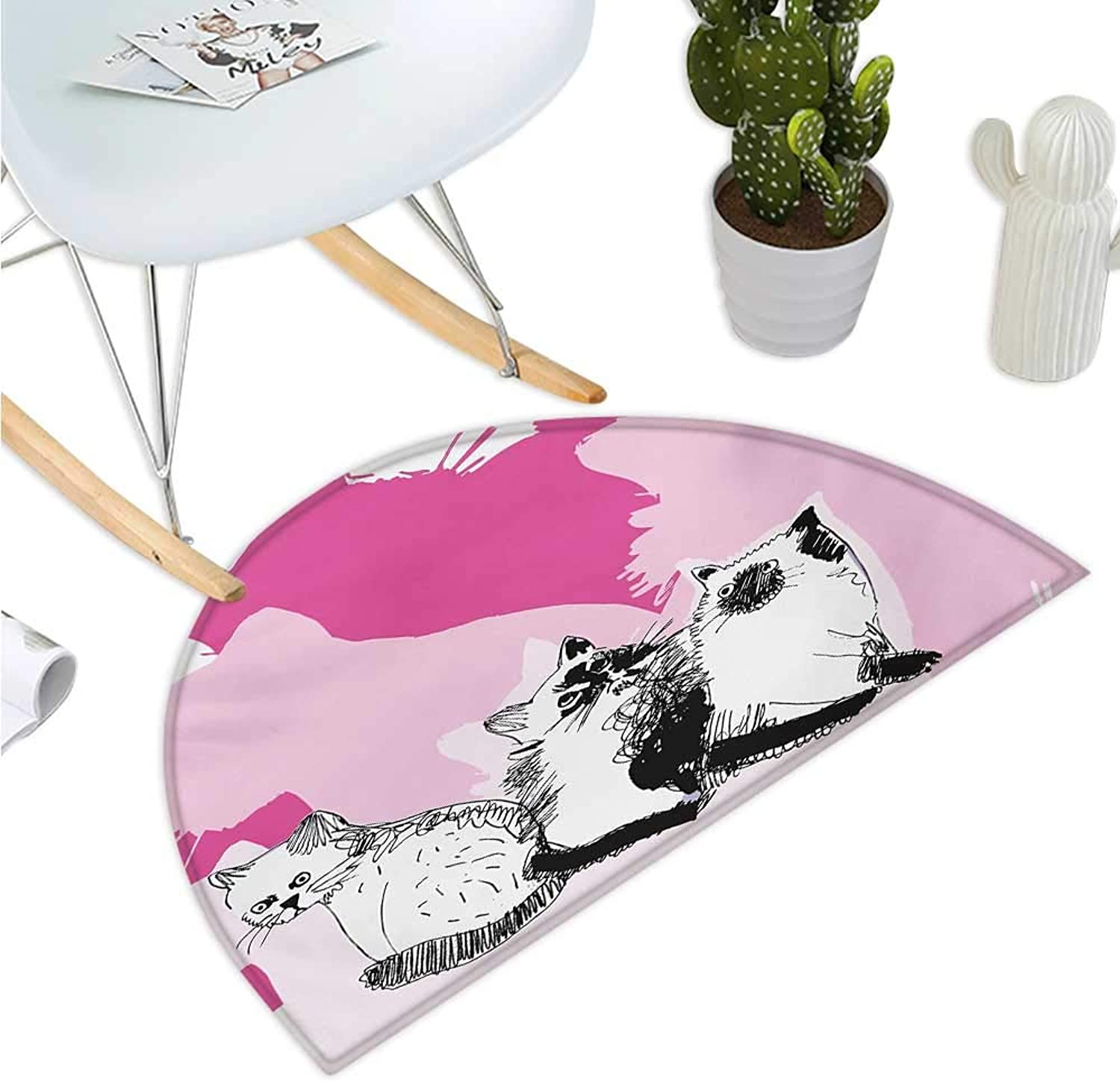 Animal Semicircle Doormat Baby Cute Cats Kittens with Shadow Sketchy Image Artwork Halfmoon doormats H 39.3  xD 59  Black White Pale Pink and Hot Pink