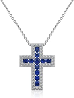 DIAMONBLISS Sterling Silver Created Gemstone Cross Pendant with Chain